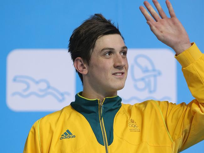 We're not Thorpie ... Bronze medallist Nicholas Brown of Australia celebrates after the Men's 100m Butterfly Final on day three of Nanjing 2014 Summer Youth Olympic Games.