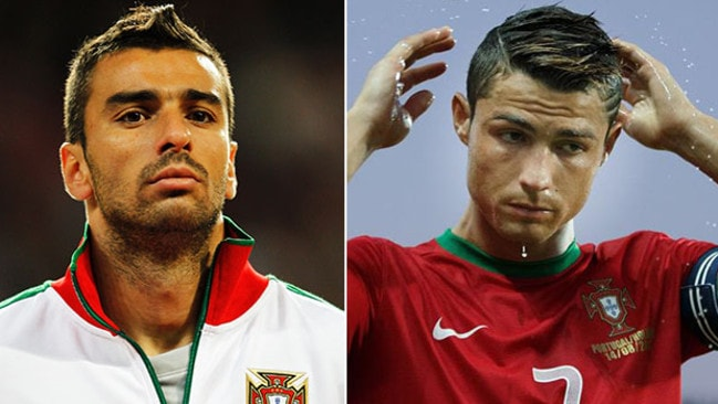 Rui Patricio smoulders while Ronaldo fixes his pretty boy hair.