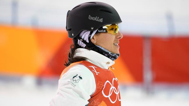 Lydia Lassila of Australia reacts after crashing on her final jump in the Women's Freestyle Aerials qualifier, at Phoenix Snow Park. Picture: AAP/Dan Himbrechts