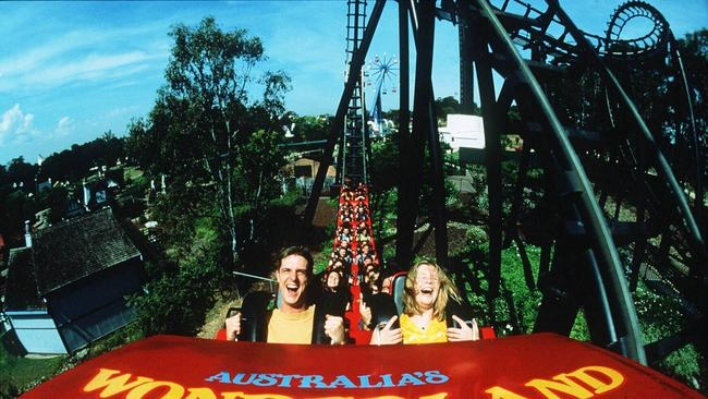 The Demon rollercoaster at Australia's Wonderland, Sydney, was one of the more popular rides. Picture: Jan 9 1998.