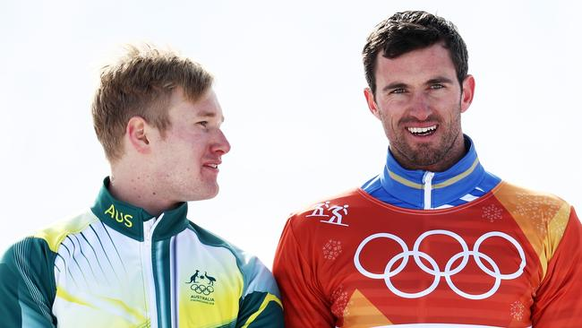 Silver medalist Jarryd Hughes of Australia and gold medalist Pierre Vaultier of France.