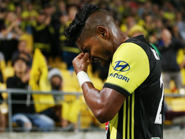 Roy Krishna leaves the field after receiving a red card but not before scoring his 15th goal of the season. Picture: Getty Images
