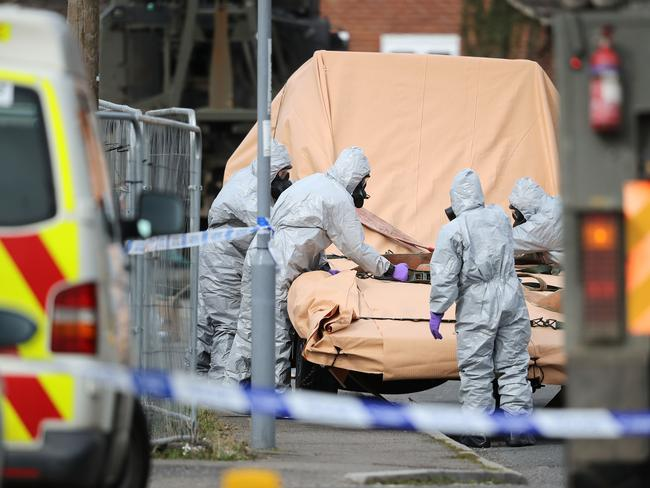 Forensic teams work at an address in Gillingham, Dorset as they remove a recovery truck used following the Salisbury nerve agent attack. Picture: Getty