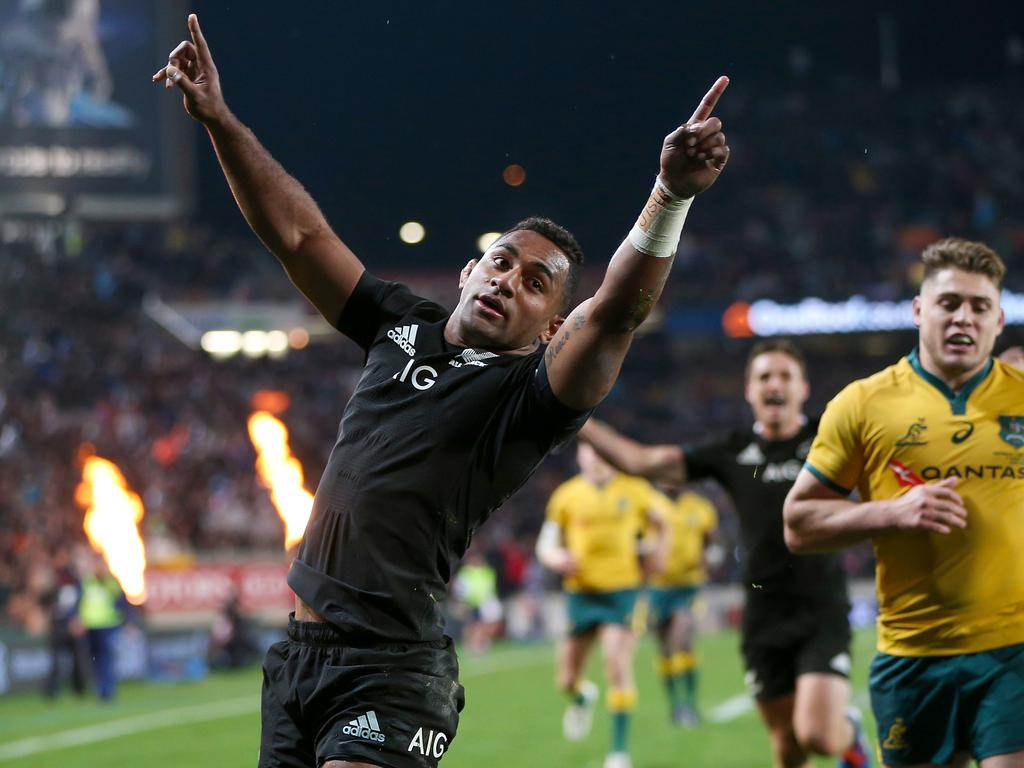 **Alternate Crop** Sevu Reece of New Zealand celebrates after scoring a try during the Bledisloe Cup match between the New Zealand All Blacks and the Australian Wallabies at Eden Park in Auckland, New Zealand, Saturday, August 17, 2019. (AAP Image/David Rowland) NO ARCHIVING, EDITORIAL USE ONLY