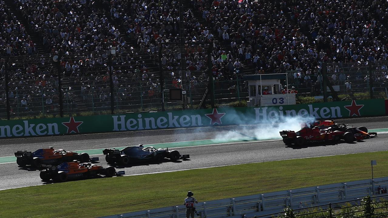 Leclerc drives into Verstappen during the Japanese Grand Prix. Picture: Behrouz Mehri