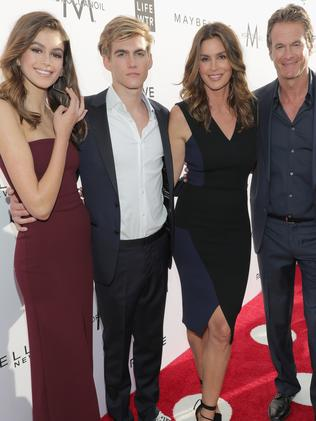 Kaia Gerber, Presley Gerber, Cindy Crawford and Rande Gerber. Picture: Getty