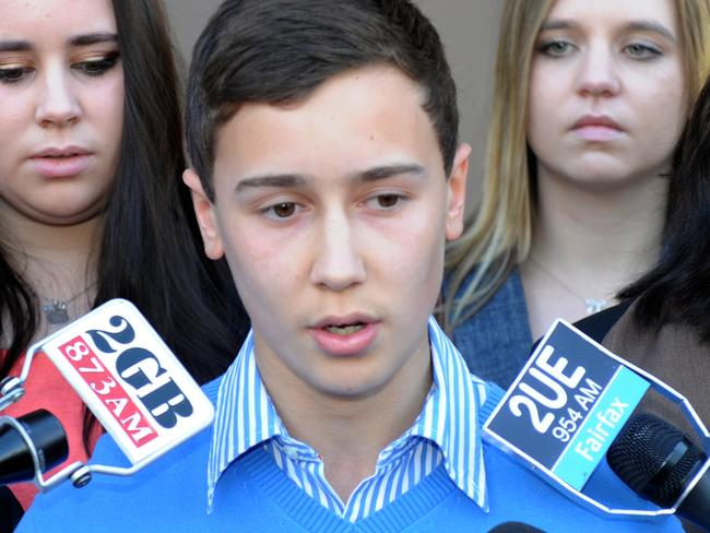 Stuart Kelly speaks to the media after the sentence appeal hearing for Thomas's killer Kieran Loveridge. Picture: Dean Lewins/AAP