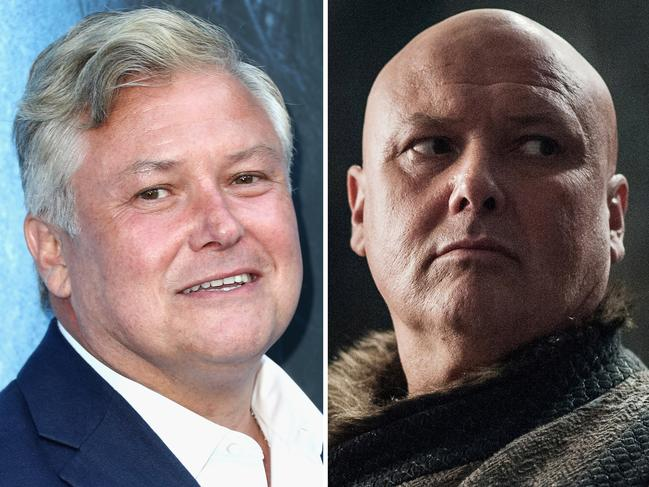 Actor Conleth Hill and his transformation into the character of Varys. Picture: Getty/HBO