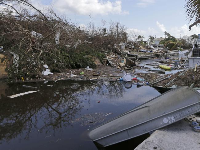 Debris lies in a canal in Big Pine Key, Florida in the aftermath of Hurricane Irma. Picture: AP Photo/Alan Diaz