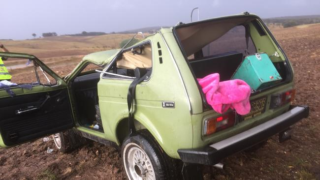Linda Shannon's head became pinned betweent the roof and car seat of Thomas Shannon's Lada Niva. Picture: Supplied