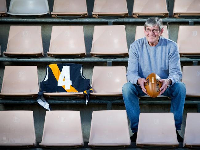 """Former Richmond VFL star Royce Hart is to be inducted into the """"Legends"""" category of the AFL Hall of Fame. Royce is pictured at Blundstone Arena in Hobart, formerly Bellerive Oval, where he played for Clarence as a teenager."""
