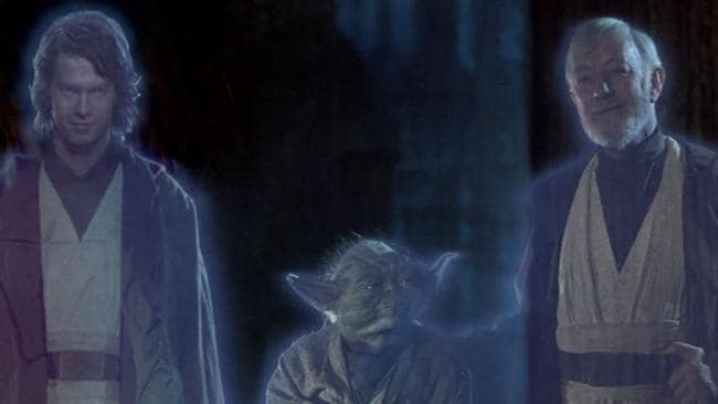 Appearing as a ghost ... The younger, 'good' side of Anakin Skywalker with Yoda and Obi-Wan Kenobi. Picture: Supplied