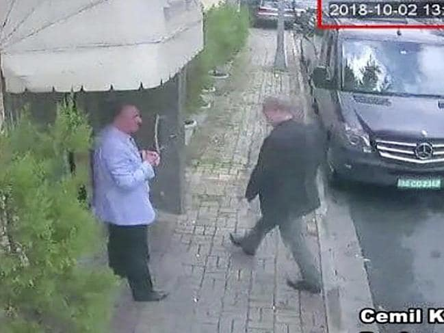 This image taken from CCTV video shows Saudi journalist Jamal Khashoggi entering the Saudi consulate in Istanbul on October 2, 2018. Picture: CCTV/Hurriyet via AP
