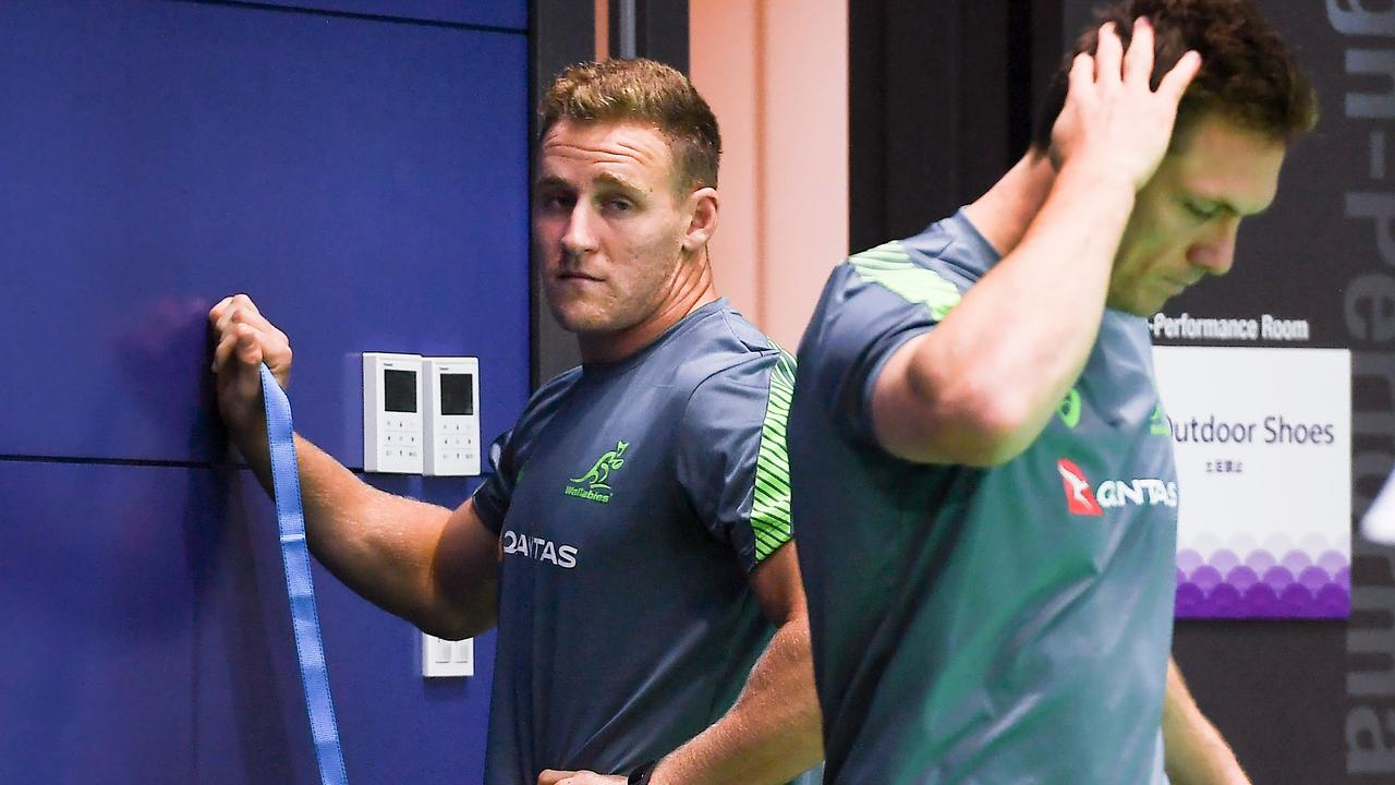 Australia's Reece Hodge and Dane Haylett-Petty take part in a gym training session in Tokyo.