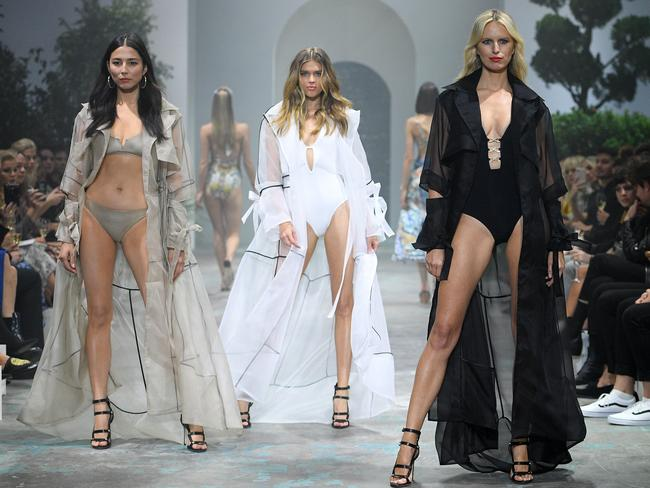 ea91c78588 Left to right  Australian models Jessica Gomes and Victoria Lee along with  Czech model Karolina