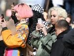 Katy Perry takes pictures of models on the runway for the Marc Jacobs collection during New York Fashion Week on February 16, 2017, in New York City. Picture: AFP