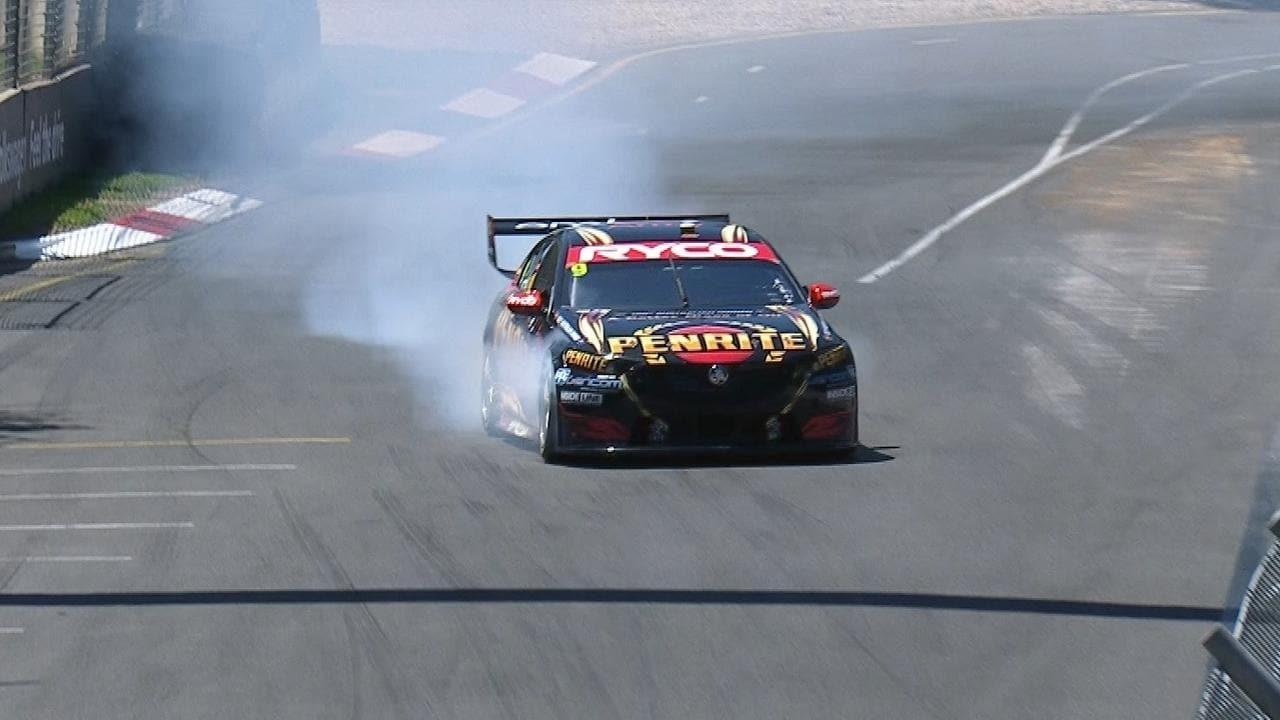 David Reynolds' car sprays smoke on his shootout lap.