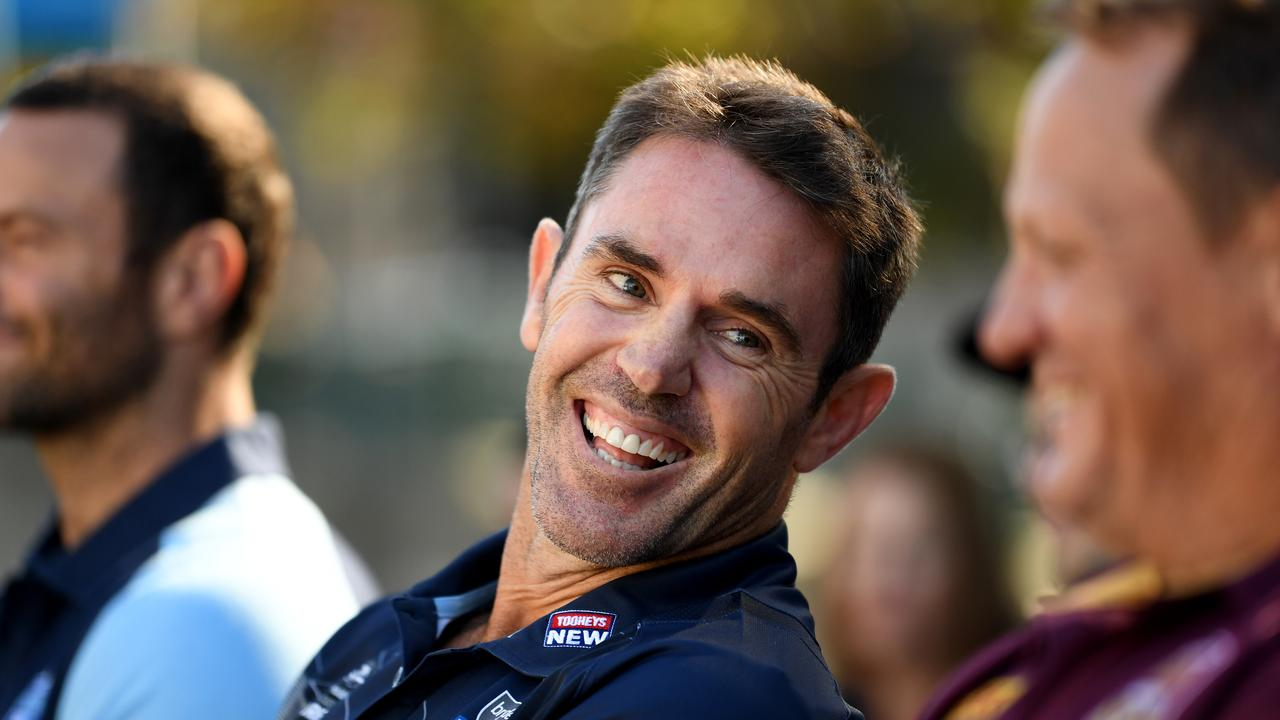 NSW Blues coach Brad Fittler smiles at the State of Origin Series Launch in Melbourne, Tuesday, April 3, 2018. The opening game of the series will be played at the Melbourne Cricket Ground on June 6. (AAP Image/Joe Castro) NO ARCHIVING