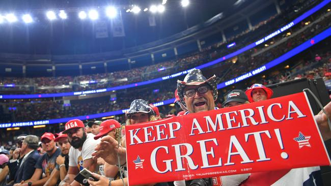 Supporters waits for US President Donald Trump to arrive at a rally at the Amway Center in Orlando, Florida. Picture: Mandel Ngan / AFP.
