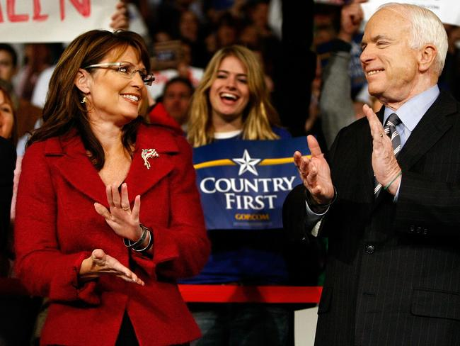 Republican US presidential nominee Senator John McCain and his vice presidential running mate Alaska Governor Sarah Palin in 2008. Picture: AFP