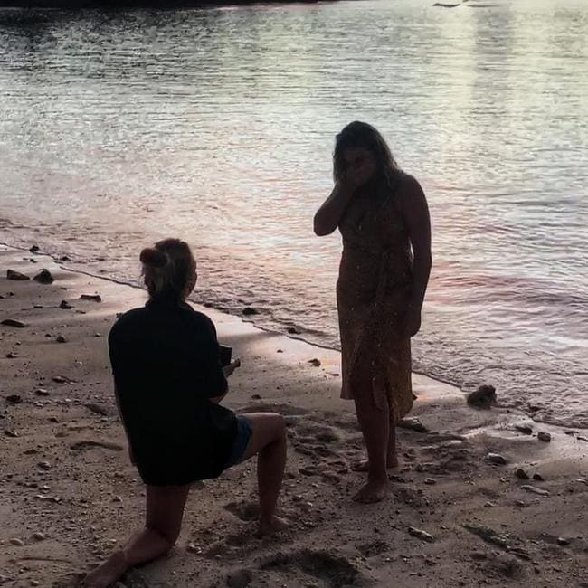 Hayley got down on bended knee in Vanuatu where the pair on holidaying.