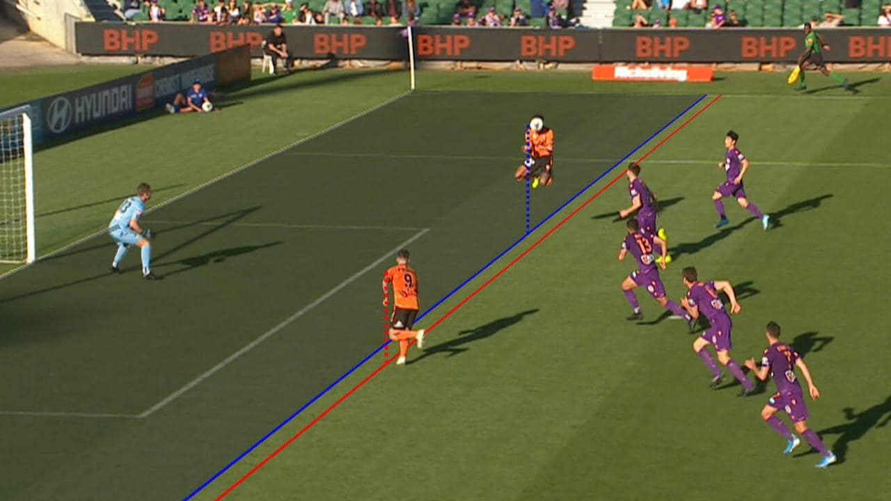 ONSIDE: VAR confirms a late Brisbane Roar equaliser.