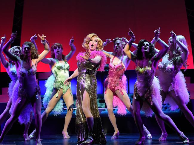 The 2014 Australian production of La Cage Aux Folles starring Todd McKenney and Simon Burke, music and lyrics by Jerry Herman. Picture: Jake Nowakowski