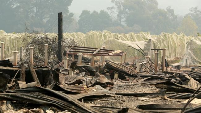 Jinks Creek Winery in Tonimbuk was destroyed after a bushfire. Picture: Stuart McEvoy