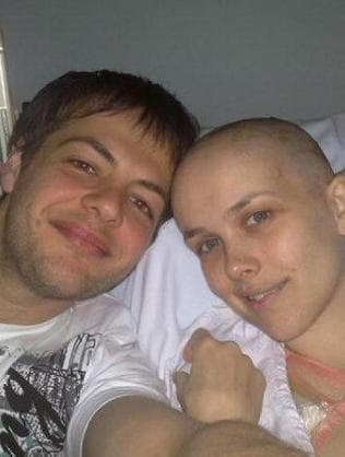 Jacqueline with then-boyfriend during second round of treatment. Picture: Supplied