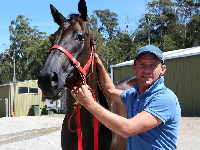 Mystic Journey with trainer Adam Trinder. Picture: Bill Hayes