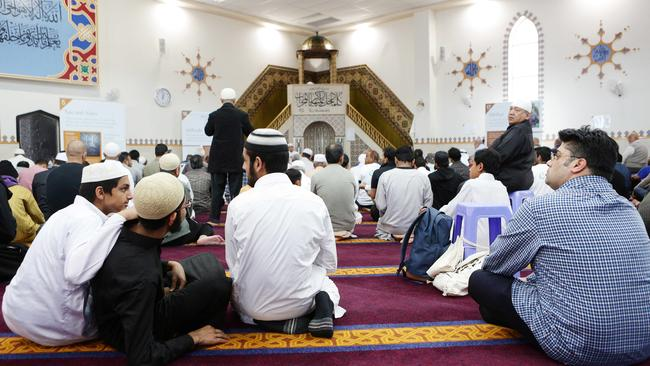 Lines woven into the carpet ensure everyone is facing Mecca.