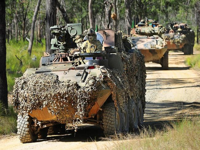 On the move ... Australian armoured vehicles take up their positions for the Talisman Sabre exercises. Source: Defence