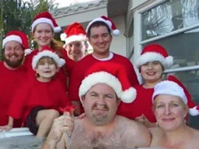 The entire family gathered round mum and dad in the spa for the ultimate festive scene.