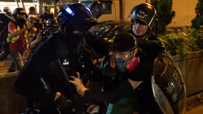 Police arrests a protester on a street outside the Wong Tai Sin MTR station on August 24, 2019 in Hong Kong, China. Picture: Billy H.C. Kwok/Getty Images