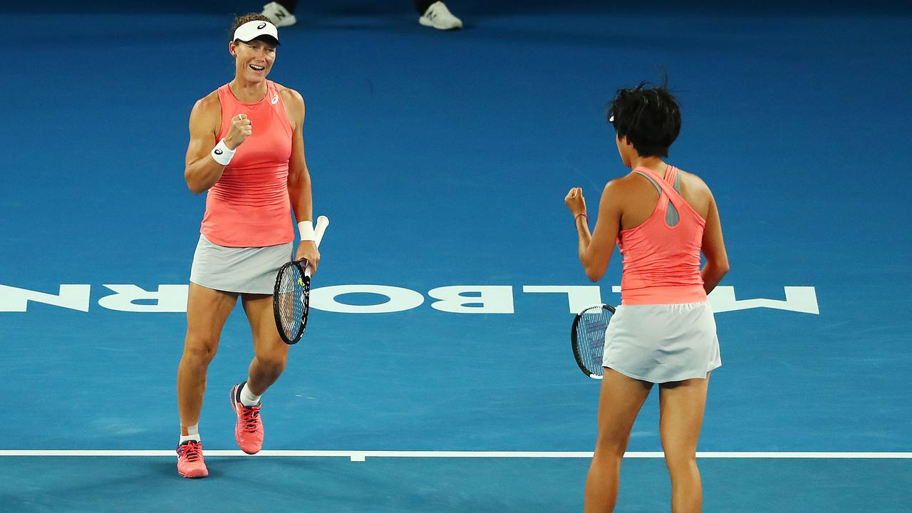 Sam Stosur and Zhuai Shang are into the final of the women's doubles. (Photo by Michael Dodge/Getty Images)