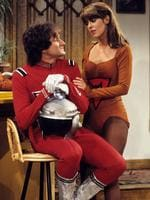 """MORK and MINDY - """"Mork Goes Public"""" 10/19/78, Mork (Robin Williams) decided to reveal that he was an alien to a tabloid. Pam Dawber (Mindy) also starred. Picture: Getty"""