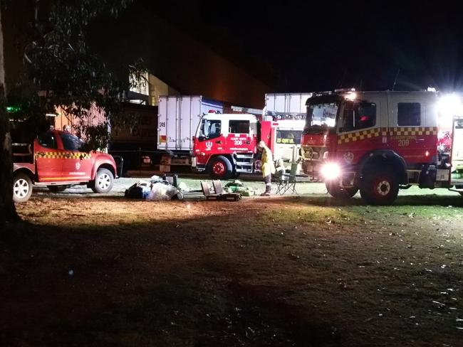 Workers evacuate the site of a paper mill after a gas leak in Albury. Picture: Twitter/FRNSW_RS3