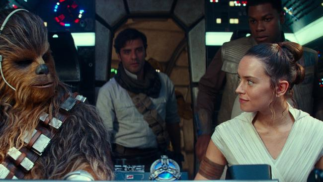 Joonas Suotamo as Chewbacca, Oscar Isaac as Poe Dameron, Daisy Ridley as Rey and John Boyega as Finn in Star Wars: The Rise of Skywalker. Picture: Disney/Lucasfilm Ltd. via AP