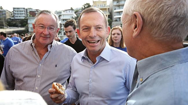Tony Abbott having a laugh with NSW Liberal MP for Wakehurst Brad Hazzard and a friend, at the launch of his campaign in 2016. Picture: Adam Yip/ The Australian
