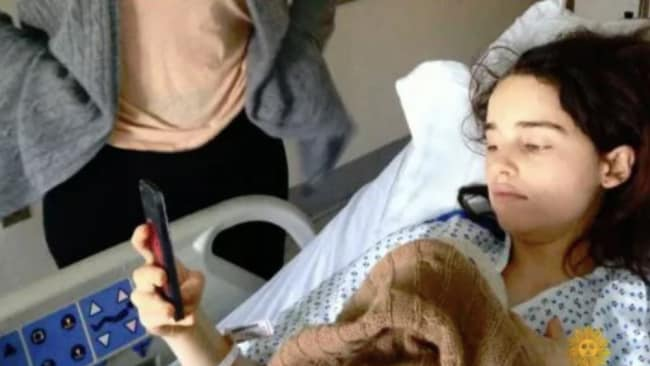 The star is pictured in hospital. Picture: CBS Source:Supplied