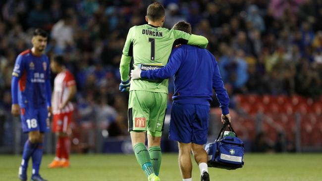 Jack Duncan of the Jets is taken from the field injured during the A-League Semi Final match between the Newcastle Jets and Melbourne City.