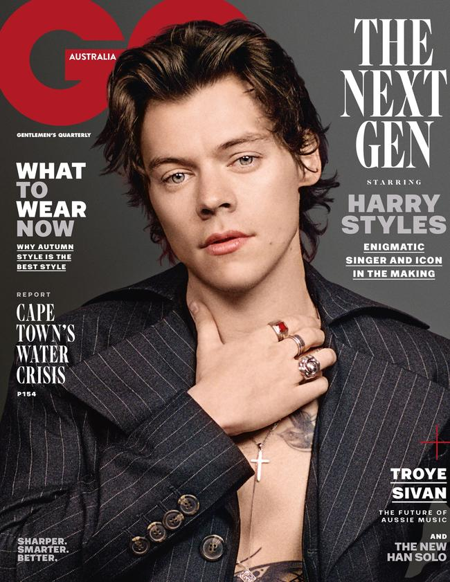 Harry Styles on the GQ Australia May issue cover. Picture: Supplied