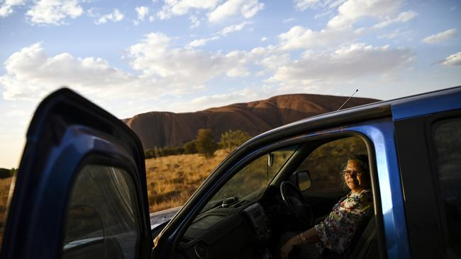 Anagu Aboriginal leader Dorothea Randall is seen in her car at Mutitjulu community near Uluru, also known as Ayers Rock at Uluru-Kata Tjuta National Park in the Northern Territory. Picture: AAP/Lukas Coch