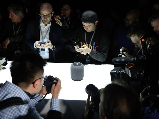 The Apple HomePod will go head-to-head with speakers from Google and Amazon. Picture: Justin Sullivan/Getty Images/AFP