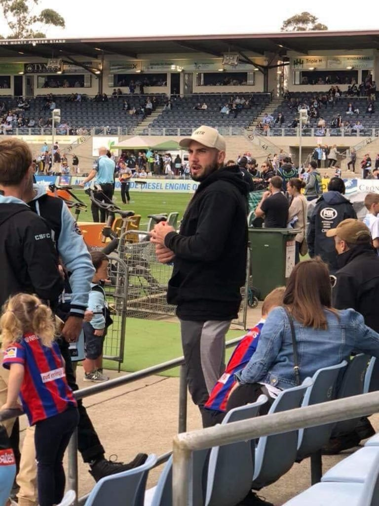 Broncos star Jack Bird watches the Sharks v Knights game at Southern Cross Group Stadium.