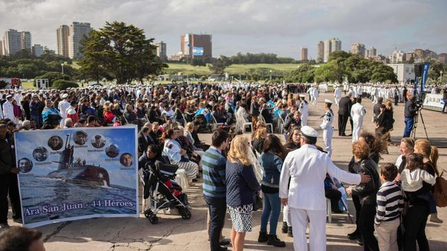 Mar del Plata's naval base, in Buenos Aires province, hosted a memorial on Thursday for the crewmen. Picture: AFP