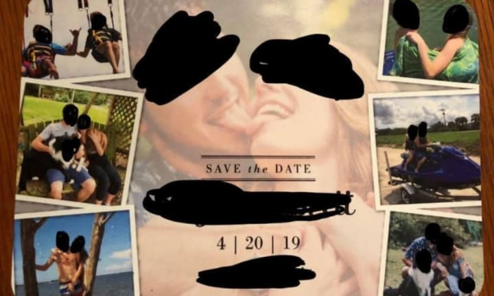 A wedding guest has slammed a 'trashy' invite which sees the bride and groom tonguing on the front. Source: Facebook