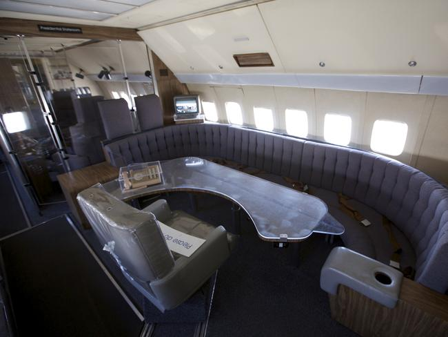 The interior of very first jet Air Force One, a Boeing 707.