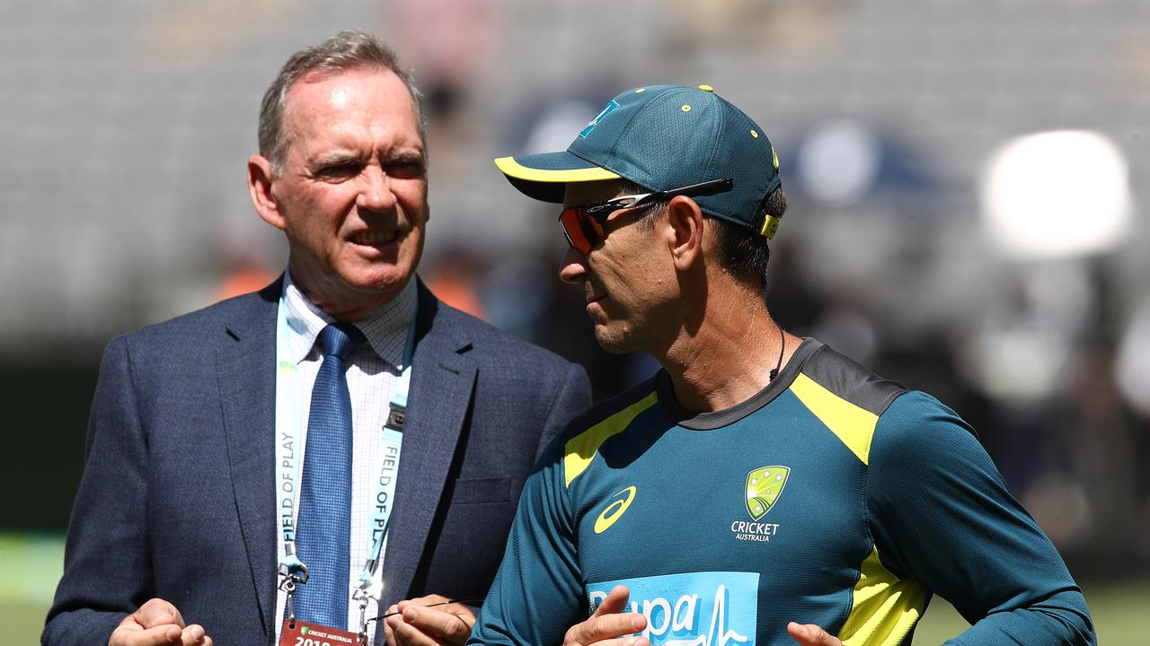 Outgoing Cricket NSW chief executive Andrew Jones believes Australia should change their selection model. Pictured: Coach Justin Langer and national selector Trevor Hohns.