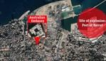 Australian embassy proximity to site of explosion in Beirut, Lebanon. Picture: Google Earth